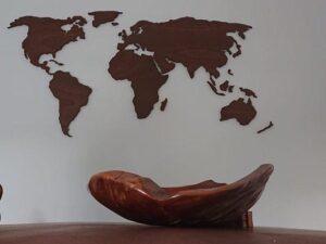 houten wereldkaart palissander
