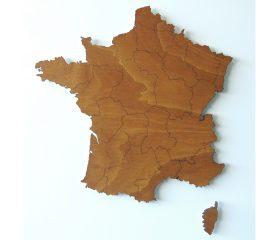 Houten landkaart Frankrijk met regio's