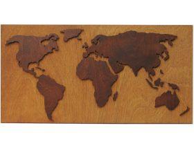 Houten wereldkaart op achterplaat