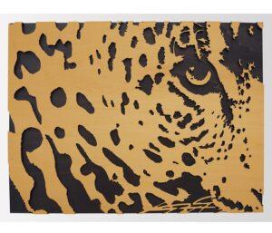 wooden leopard's head