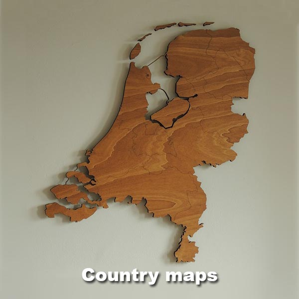 Wooden country maps