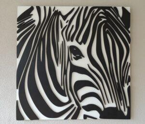Houten zebra hoofd close up